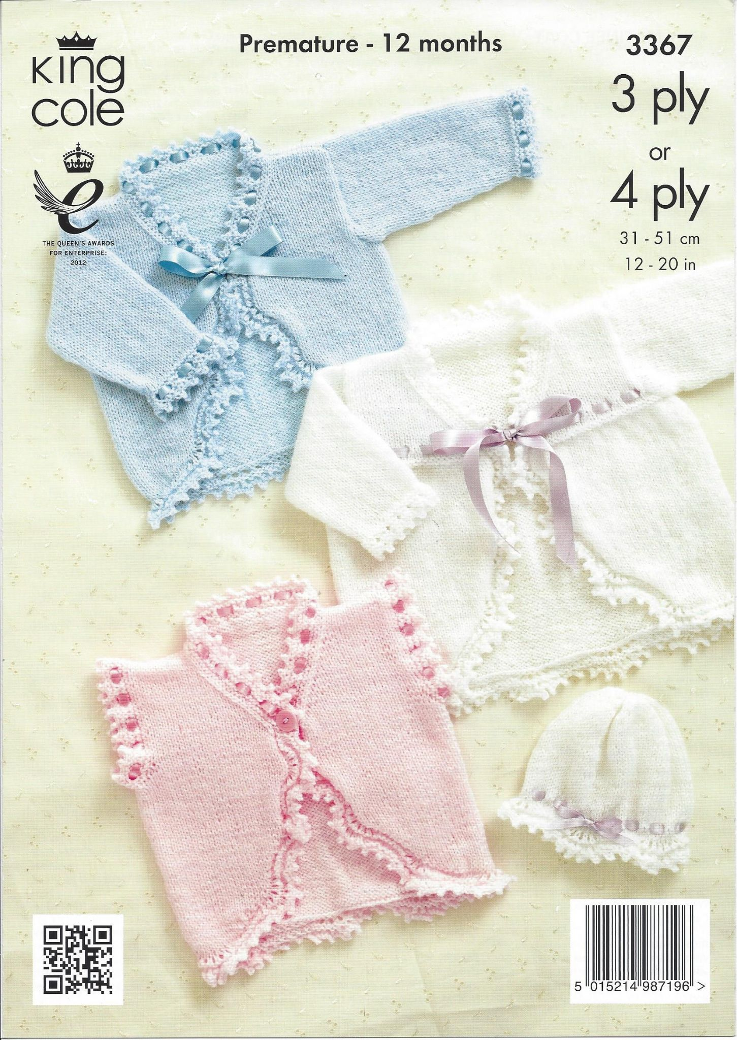 King Cole Baby 3ply & 4ply Knitting Pattern - 3367 Boleros Matiee ...